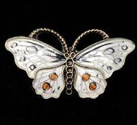 Vintage Sterling Silver Brooch Pin 925 OPRO Norway C Clasp Butterfly Enamel