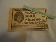 Nina Simone Jazz Trio Academy of Music PHILADELPHIA 1963 newsprint ad