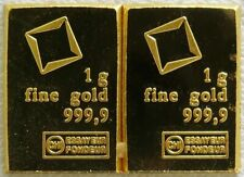 (2) 1 Gram Fine Gold Bar - Assayed .9999 Pure Fine Bullion Valcambi Suisse Swiss
