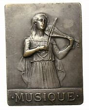 France 1906 Amiens Music Competition Silver Plated Bronze Award Medal Plaque