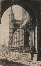 LINCOLN CATHEDRAL GALILEE PORCH Signed Etching GEORGE A WESTON c1920