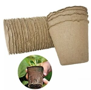 50/100 Biodegradable Paper Pulp Peat Pots Nursery Cup Tray Garden Seedling Tool