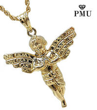 Angel 10K Yellow Gold Pendant with Rope Chain Set Men's Fine Jewelry