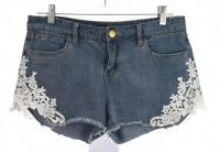 Harper Womens Cut Off Crochet Lace Mini Jean Shorts Stretch Boho Blue Sz 28