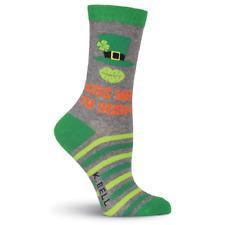 KISS ME I'M IRISH Leprechaun Hat  Women's Crew Socks by K Bell Sock Size 4-10