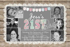 Personalised Photo Birthday 18th 21st 30th 40th Party Vintage Invite Invitation