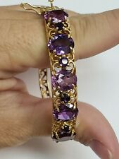 Antique Victorian 14k Yellow Gold Amethyst 1.10 tcw Bangle Bracelet 11g