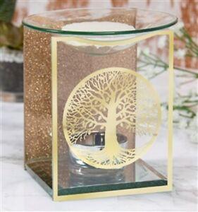 Gold Tree Of Life Glass Wax Melt Oil Burner Melter Tealight Holder Large 11cm