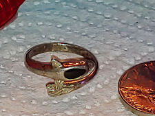 New listing Sterling Silver & Black Onyx Dolphin Porpoise Bypass Wrap Ring Size 6
