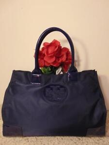 Authentic Tory Burch Ella Nylon Logo Tote Bag Blue large purse