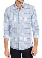 Alfani Mens Shirt Blue Size Medium M Geo Block Striped L/S Button Down $65- 252