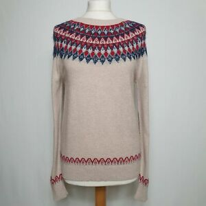 Fat Face Oat Meal Fair Isle Knitted Christmas Jumper Size 14