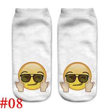 Lovely Women 3d Print Casual Emoji Socks Men Unisex Low Cut Ankle Cotton Socks #08