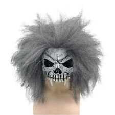 DELUXE SKULL HALF FACE MASK + HAIR FANCY DRESS COSTUME ACCESSORY