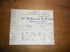 1911 Pharmaceutical Invoice McKesson Robbins Importers Company New York