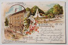 26971 Litho AK Gruß aus BONN Kaiser-Cafe am Kaiserplatz Pappelsdorfer Allee 1899