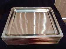 "Silver Metal Rectangle Square Serving Trays 10"" x 9"" - Set of 24"