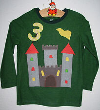 GeburtstagsShirt mit Applikation *BURG*, grün gestreift, Unikat, Gr.98/104 NEU