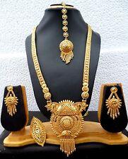 22K gold Plated Designer Pendant 11'' Long Necklace Earrings Tikka Ring Set d