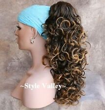 Brown Mix Ponytail Hairpiece Long Curly Claw CLIP in on Hair Piece Extension