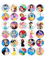 30 X Disney Princess Edible cupcake toppers -  inc Elsa,Cinderella, Ariel (DP2)