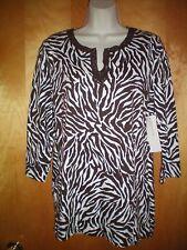 NWT NEW womens size M dark brown white zebra JONES NEW YORK tunic shirt knit top