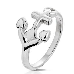 316L Edelstahl Ring Anker Anchor Seefahrer Maritim Silber Damen Herren