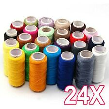 24 Colorful Colors 100% Assorted Cotton Polyester Spools Reel of Sewing Thread