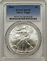 2004 $1 Silver Eagle PCGS MS70 Blue Label