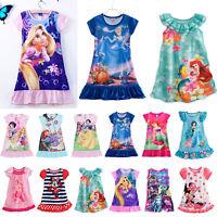 Kids Girls Casual Nightdress Nightie Nightwear Cartoon Princess Pyjamas Dress