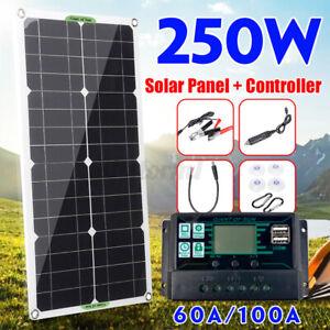250W Solarpanel Solarmodul Laderegler 100A Controller Kit Wohnwagen/Camping