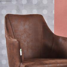 Zarah Faux Leather Armchair | Modern Dining Chair Brown Chocolate Latte Mocha UK