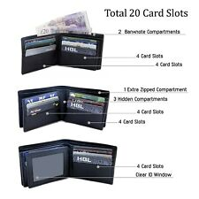 Mens RFID Genuine Real Full Grain Leather Wallet 20 Card Holder Slots Aira Brand