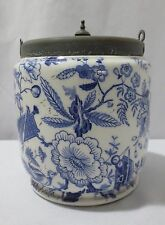 ANTIQUE Taylor & Tunnicliff Blue Onion Biscuit Barrel Jar Ca 1868 - 1898
