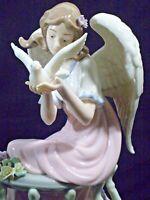 Porcelain Angel Girl Wings On Balcony Releasing Dove Beautiful Fantasy Fairy