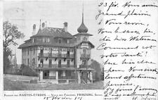 FRIBOURG TO BERN SWITZERLAND PENSION DES HAUTES ETUDES POSTCARD 1909