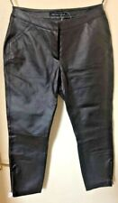 """LADIES FEMALE FAUX BLACK LEATHER TROUSERS WAIST 8 LEG 25"""" NEW WITH TAGS"""