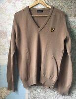 Lyle And Scott Vintage 100% Wool Jumper Pullover Camel Brown Size Medium