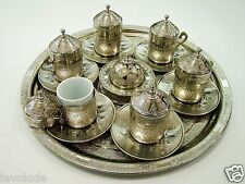Handmade Copper & Porcelain Turkish- Ottoman Coffee Espresso  Set 27 Pcs Uzumlu
