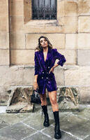 ZARA NEW WOMAN $129 VELVET BLAZER DRESS RHINESTONE BUTTONS PURPLE REF 2761/282