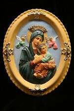 Our Lady of Perpetual Help Virgin Mary Plate Plaque Statue Vittoria Made Italy