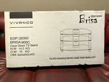 "Vivanco TV Stand ""Brisa 800C"" Clear Glass. 800mm Wide. New"