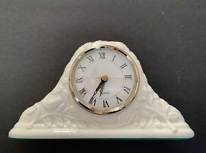 Mantle Desktop Clock Ivory Porcelain Embossed Roses Gold Color Accents Quartz
