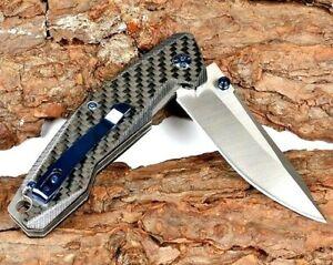 Drop Point Folding Knife Pocket Flipper Hunting Survival D2 Steel Carbon Fiber S