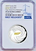 2020 James Bond 007 HIGH RELIEF SILVER PROOF $1 1oz COIN NGC PF69 Ultra Cameo