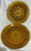 "Tiara Indiana Glass Amber 12"" Deviled Egg Server Plate And Sandwich Server Plate"