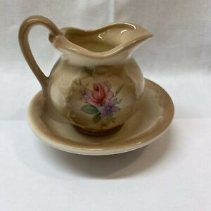 Glazed Brown Novelty Small Pitcher and Bowl