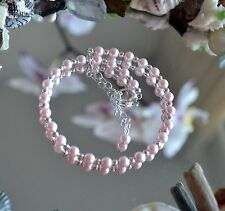 Pink Crystal Pearl &.925 Sterling Silver Bead Ankle Bracelet 9 to 11 inches