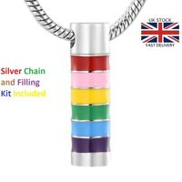 Rainbow Cylinder Funeral Jewellery Cremation Urn Pendant Ashes Necklace Memorial