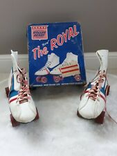 "VINTAGE OFFICIAL ROLLER DERBY "" THE ROYAL"" SIDEWALK SHOE SKATES  BLUE W BOX 7"